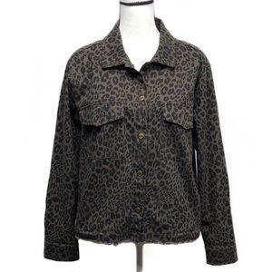 NWT Sanctuary animal print denim jacket